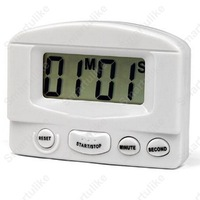 Mini LCD Digital Count Up Down Kitchen Cooking Timer Magnetic Electronic Alarm White