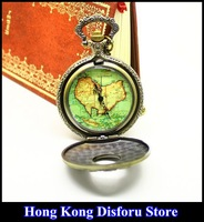 2013 russian hot sale bronze vintage big map constellation fashion quartz pocket watch Free shipping/wholesale dropship