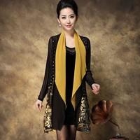 Autumn plus size luxury embroidery loose cardigan one-piece dress plus size plus size women twinset