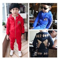 HOT new fashion Autumn and winter children's clothing paillette wings 100% cotton child set  kids sports suits boys casual sets
