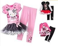 Retail,2013 new design girls hello kitty dress+pants set cartoon kids clothing suit KT short sleeve dress set pink