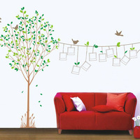 1set High Quality Finish Size 85*120cm Green Photo Frame Tree For Home Decor & Photo Tree Sticker Photo Frame