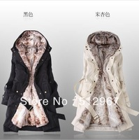 2014 Faux fur lining women's winter warm long fur coat jacket clothes wholesale Free Shipping