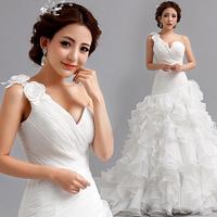 Vestido De Noiva  2014 Fashionable Plus Size  Sexy One Shoulder Romantic Vintage Mermaid  Organza Wedding Dress Sereia Casamento