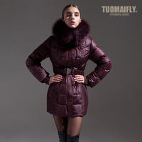 New 2013 autumn winter down & parka thick coat  fur collar down coat large fur collar female plus big size