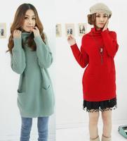 Autumn Winter Women's Turtleneck Knitted Pullover Long Sleeve Coat Pineapple Pattern Loose Sweater Dress High Street Jumper