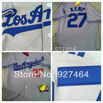 new 2013  Los Angeles Dodgers 27 Matt Kemp blue/white/grey  youth/ kids/ boy baseball Jersey, Embroidery Logo, Original Tags