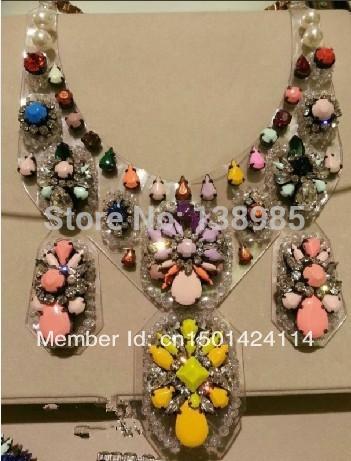 shourouk style luxury necklaces pendants shourouk gem necklace Colorful crystal jewel ornamental design Necklace(China (Mainland))