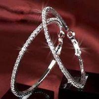 Crystal Rhinestone Hoop Earrings Paparazzi Basketball Wives CZ Hoop Earrings 12pairs/lot Free Shipping