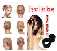 2pcs Magic hair dish stick Bun Clip Maker Former Foam Twist Hair Salon Tool black/leapard