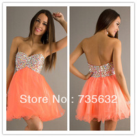 Fashion A Line  Sweetheart Mini short  Sexy Beading  crystals Organza Cocktail Dress Party Dress A274