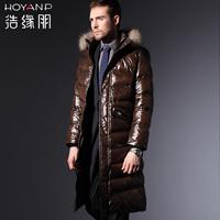 2013 New Brand HOYANP Men's Winter Coat Long with Raccon Fur Collar, L/XL/2XL/3XL/4XL, Pluz Sizes Men Winter Down Coat, 4 Colors