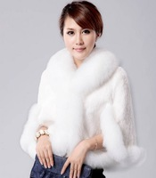 Winter Elegant Ladies' High Quality Luxury Fox Fur Spliced Rex Rabbit Fur Vest Cape Women's White Fur Cloak Party Coat Tops