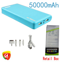 Factory outles 50000mAH Mobile Power bank High capacity sufficient capacity +5 mobile power adapter + 1 usb cable + retail box