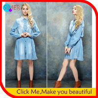 Hot Sale Women's Autumn Denim Embroidery Knee-length Dress Long Sleeve Women Casual dresses Free Shipping