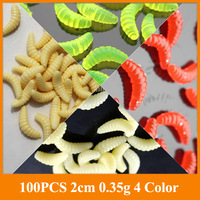 Promotion!!  maggot Grub Soft Lure Baits Fishing Lures Worms Glow china 50PCS 2cm 0.35g HOT SELL!