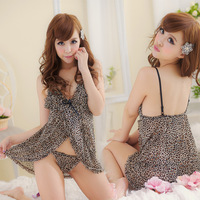 Wholesell and Retail Leopard001-1058 Sexy  Babydolls & Chemises  Exotic Apparel- Leopard nightgown 15pcs/lot