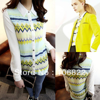 European Style 2013 new Brand Chiffon Trendy Galaxy Wave Print Geometric Cardigan women  Shirt Blouse Tops Camisa Blusas
