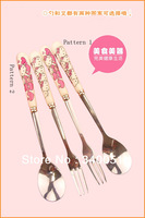 4pcs/lot Hello Kitty Stainless Steel cutlery set Tableware Set Spoon and Fork For Children