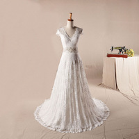 2014 New design Real Sample Free shipping V-neck vestidos de noiva Cap Sleeve Luxury Elegant Real Lace Wedding Dresses DBY-117