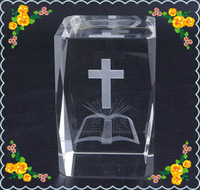 Free Shipping 5*5*8cm  Laser Cross Crystal Cube For Church Decoration Safest Package with Reasonable Price