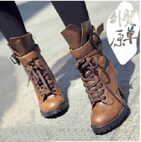 Free shipping High quality Winter Women motorcycle genuine leather shoes Warm high heel Martin waterproof boots J1388