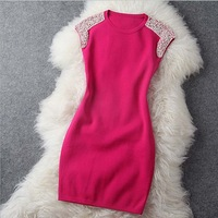 2013 autumn winter Heavy manual stretchy slim pearl beading shoulder fashion vintage brand dress formal dress
