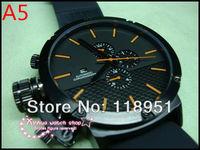 2014 The new rubber strap big dial calendar automatic mechanical multifunction Original Swiss luxury watch business men U05