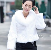 2013 New Winter Women's Leather Grass Imitation Fox Fur Collar Mink Coat