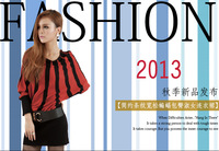 Free shipping!2013 autumn slim hip batwing sleeve Sweater Stripe one-piece dress(No belt)
