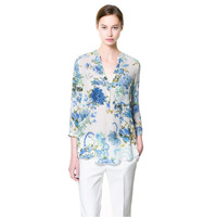 2013 fall new ZA Brand blouses Floral flowers with paragraph Sleeve V-neck  Women shirt 01
