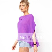 Women's Chiffon Batwing Sleeve Shirts Half Sleeve O-neck Blouse Women Loose Purple Top M L XL16220
