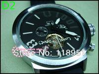 2014 Hot new flywheel calendar automatic mechanical rubber band big dial genuine sports waterproof Swiss brand men's watch U11