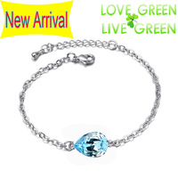 2013 new arrival factory wholesales 18K Platinum plated fashion Austrian Crystal tear water drop Bracelet banglejewelry 3002