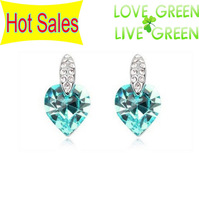 Hotselling Wholesales 18K GP Austrian Element Crystal Heart Stud Earrings Ear Clip Fashion crystal Jewelry R177x