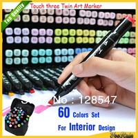 [Wholesale Art Supplies] Discounts Touch three Twin Art Markers Pen 60 Colors / Set For Interior Design W/ Free Case