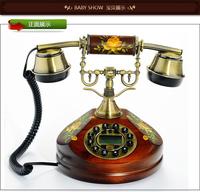 Hot new 2014 fashion personality solid wood antique telephone retro phon landline phone home decor Free shipping