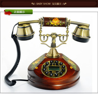 Hot new 2014 fashion personality solid wood antique telephone retro phon landline phone home decor Free shipping