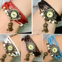 6Pcs/Lot Vintage Christmas Gift Quartz Weave Wrap Leather Bracelet Watch,bracelet Wristwatches Women Hand Knit Wristwatch 18656