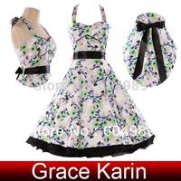 Grace Karin Winter Cotton knee length Rockabilly pin up Vintage Retro Audrey 50s 60s Swing Evening Dresses vestidos CL4593