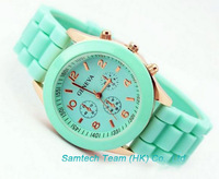 Geneva Classic Gel Silicone Band Watches 11Colors In stock Lady Rubber Silicone Jelly Watch, 100Pcs DHL SHIP