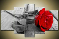 Handmade 5 Piece Wall Art Oil Paintings On Canvas Flowers Pictures For Living Room As Unique Gift Red Rose Free Shipping F/028