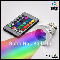 10PCS E27 E14 GU10 MR16 RGB LED Lamp 85-265V 16 Colors changing 3W LED Bulb Spotlight light with Remote Control lighting