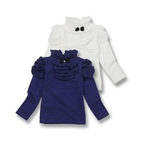 New arrival grils spring autumn princess turtleneck tshirt children blue white bow blouse 548