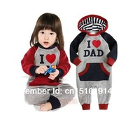 SH290 Free shipping I Love MOM & DAD Baby Autumn hooded romper Grow Long Sleeve Bodysuit Jumpsuit Outwear Retail