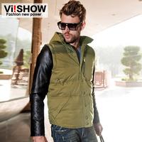 viishow new down jacket men men's casual short men's jackets fashion detachable cap hit color stitching