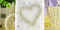 New for Lenovo A390 diamond Bling jewels big heart crystal cover case Accessories Free Shipping