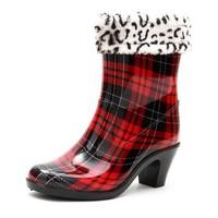 Fashion Women's Shoes Rain Ankle Boots Round Toe Low Heel Waterproof Shoes KE077