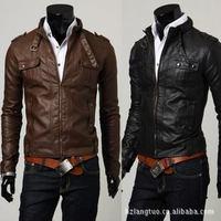Korean Fashion Faux Leather Men Jacket Draping Four Pocket Short Paragraph Slim Leather Motorcycle Leather Jacket