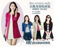 Free Shipping 2013 Korean Version of Ladies Coat and long sections Slim Trench Clothes Plus Size Women Outwear